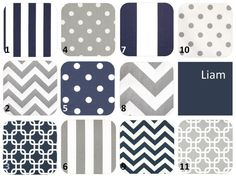 Design Your Own - 4-pc Crib Bedding Set - Navy Blue, Gray, White - Bumperless - Liam Collection