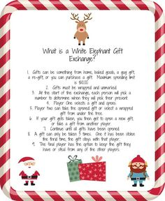 White Elephant Gift Exchange.  A fun idea for an office party, or evening out with friends.