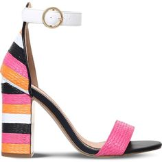 MISS KG Ebony colour-block woven heeled sandals (2.830 RUB) ❤ liked on Polyvore featuring shoes, sandals, high heeled footwear, buckle sandals, open toe high heel shoes, block shoes and colorblock shoes