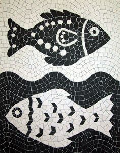 I love the yin-yang feel of this mosaic! i also like the contrast of the arrow shapes and circles.