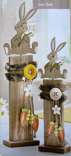 2 x Dekosäulen mit Hase mit Blume NEU Häschen für Ostern 48 + 36 cm gross   Möbel & Wohnen, Feste & Besondere Anlässe, Jahreszeitliche Dekoration   eBay!