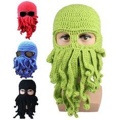 Unisex Octopus Winter Knit Crochet Wool Ski Face Mask Knit Hat Squid Cap Beanie