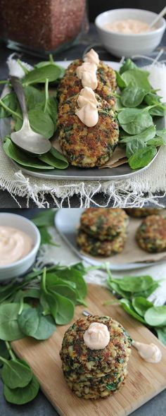 Quinoa cakes with spinach and cheddar cheese (Use vegan cheese & flax eggs. Any vegan dip or spread will work.  I can't wait to try these ! Monica