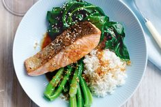 Salmon with sesame greens & ginger-soy dressing ~ This flavourful salmon dish is the perfect midweek meal - it's quick, healthy and budget-friendly too. Seafood Recipes, Gourmet Recipes, Dinner Recipes, Healthy Recipes, Salmon Recipes, Savoury Recipes, Quick Recipes, Chicken Recipes, Clean Eating