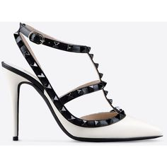 Valentino Garavani Ankle Strap Rockstud ($980) ❤ liked on Polyvore featuring shoes, white, white shoes, valentino shoes, studded high heel shoes, studded shoes and white high heel shoes