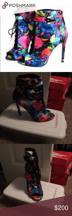 Brian Atwood(Authentic) Brian Atwood satin floral booties. No box.      *ALL ITEMS ARE FROM A PET FREE AND SMOKE FREE HOME* B Brian Atwood Shoes Ankle Boots & Booties