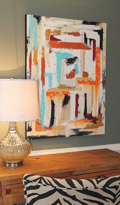 Large, modern abstract painting. Bright and fun! 30 by 40, deep edge on Etsy, $165.00