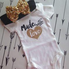 Made with Love Bodysuit Baby Girl Newborn Shirt by PurplePossom