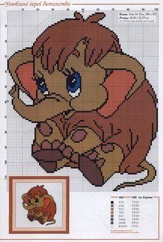 Elephant for Gaby Disney Cross Stitch Patterns, Cross Stitch For Kids, Just Cross Stitch, Cross Stitch Bookmarks, Cross Stitch Baby, Cross Stitch Animals, Cross Stitch Charts, Cross Stitch Designs, Plastic Canvas Crafts