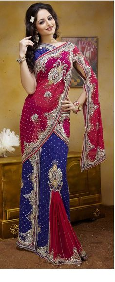 """Lehenga-style saree from UtsavFashion.com.  """"Deep pink and royal blue faux georgette lehenga style saree designed with sequins embroidery work.""""  $277 = 262 (saree) + 15 (international shipping). [Was $274.]"""