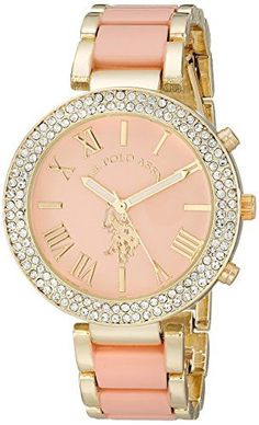 nice U.S. Polo Assn. Women's USC40063 Gold-Tone and Pink Bracelet Watch