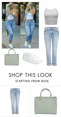"""""""Kylie Jenner street style, steal her style"""" by simina650 ❤ liked on Polyvore featuring 7 For All Mankind, Fendi and Kenneth Cole Reaction"""