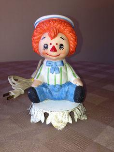 Vintage Raggedy Andy porcelain lamp por LosChapines en Etsy