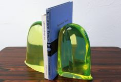 vaseline glass bookends by murano