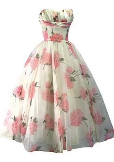 Vintage Pink Hydrangea Chiffon Party Dress - New! 50s Prom Dresses, 1950s Prom Dress, 1950s Party Dresses, Tea Length Bridesmaid Dresses, Vintage Dresses 50s, Vintage Prom, Prom Gowns, Vintage Clothing, Bridesmaids