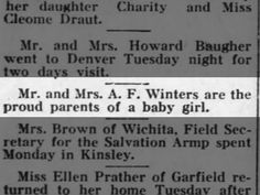 Dorothy Winters The Kinsley Graphic (Kinsley, Kansas) 24 August 1922