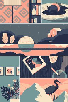 Lilian Crooks is a freelance illustrator based in Philadelphia, Pennsylvania. Art And Illustration, Landscape Illustration, Illustrations And Posters, Graphic Design Illustration, Illustration Editorial, Retro Graphic Design, Graphic Design Posters, Graphic Design Inspiration, Posca Art
