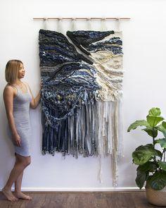 CROSSING THREADS, weaving, tapestry, fiber art, woven wall hanging, hand woven, Kassandra and Lauren Hernandez