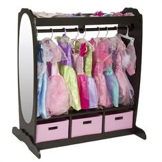 """Dress-Up Storage Center - Espresso.  Great idea!  I think I will convert an old dresser with some paint and a mirror to a """"cloak closet"""""""
