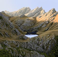 Adelaide Tarn by Peter Geen. Landscape Art, Landscape Paintings, Landscapes, Abel Tasman National Park, New Zealand Landscape, New Zealand Art, Nz Art, Natural World, Asian Art