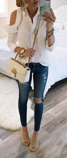 cute casual style blouse + bag + rips