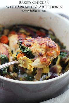 Baked Chicken with Spinach and Artichokes recipe  | www.diethood.com | Chicken, spinach and artichokes come together in this delicious, one-pot recipe.