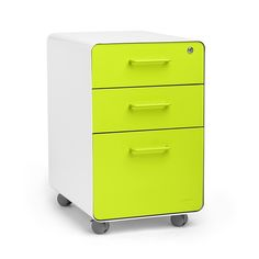 Poppin White Lime Green Stow 3 Drawer Rolling File Cabinet Desk Accessories And