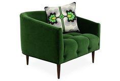 St. Barts Barrel Chair, Emerald Velvet by ModShop via One Kings Lane