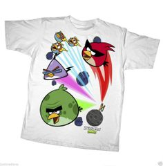 Boy's White T-Shirt Short Sleeve Astro Angry Birds - Sz L(14-16)  $18.00 #Everyday - Re-list March 2, 2014 - 7 day Auction