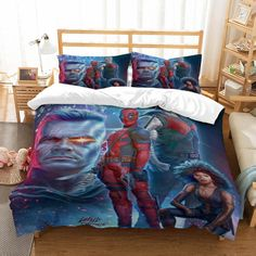 3D Deadpool Expression Kids Bedding Set Duvet Cover Comforter Cover Pillowcases