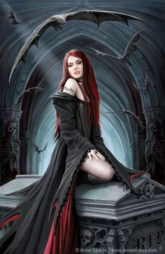 Art by Anne Stokes (Ironshod) Vampire Fantasy Myth Mythical Mystical Legend Elf Elves Sword Sorcery Magic Witch Wizard Sorceress Demon Dark Gothic Goth Demoness Darkness Castle Dungeon Realm Dreamscapes Anne Stokes, Gothic Vampire, Vampire Art, Dark Gothic, Vampire Kiss, Female Vampire, Vampire Tattoo, Vampire Bride, Vampire Queen