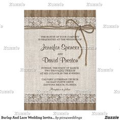Burlap And Lace Wedding Invitation, Rustic Wedding Card This burlap and lace wedding invitation features a beautiful design with burlap, lace and twine on a rustic wood plank. Perfect for couples looking for rustic wedding invitations, burlap wedding invitations, burlap and lace wedding invitations, lace wedding invitations and rustic wedding invitations with twine.