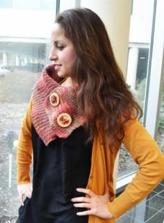 Knit Scarf with Wood Buttons