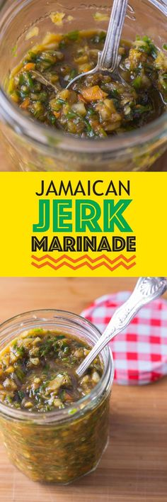 Easy Jerk Marinade Recipe - This delicious Jamaican Jerk Marinade recipe is spicy, hot and at the same time sweet. It is a unapologetically hot marinade can transport you to the small beautiful island. Jamaican Cuisine, Jamaican Dishes, Jamaican Recipes, Carribean Food, Caribbean Recipes, Chutneys, Chicken Marinades, Chicken Recipes, Jerk Chicken Marinade