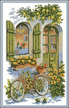 Full pattern on site Cross Stitch House, Cross Stitch Books, Cross Stitch Flowers, Cross Stitch Charts, Cross Stitch Designs, Cross Stitch Patterns, Cross Stitching, Cross Stitch Embroidery, Cross Stitch Landscape