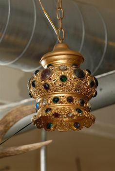 Italian Jeweled and Gilded Crown Pendant | From a unique collection of antique and modern chandeliers and pendants  at https://www.1stdibs.com/furniture/lighting/chandeliers-pendant-lights/