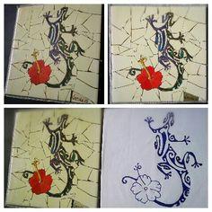 """Inspiración rapa nui. Lagartija """"moko"""" rapa nui en mosaico"""