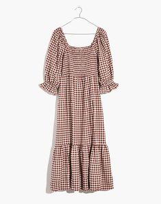 Sustainable Fabrics, Junior Tops, Smocking, Gingham, Autumn Fashion, Bodice, Short Sleeve Dresses, Dresses With Sleeves, Womens Fashion