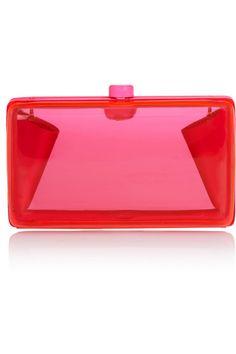 Stella McCartney Alice neon resin box clutch