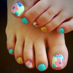Best toe nail art designs for You will really love to do this elegant toe nail designs. Pretty Toe Nails, Cute Toe Nails, Pretty Toes, Toe Nail Art, Love Nails, How To Do Nails, Fun Nails, Pretty Beach, Nail Art Vernis