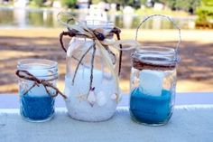 Candles in Mason Jars for a Caribbean themed bridal shower. The set could also double as a door prize :)