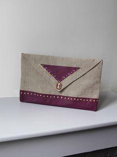 Pochette enveloppe prune et dorée - PIECE UNIQUE.