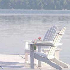 "Items similar to Beach Photography-Fine Art Photography-Coastal Home Decor-Adirondack Chairs-Blue- White Print-""Sunday Morning"" on Etsy Outdoor Spaces, Outdoor Chairs, Outdoor Living, Lakeside Living, Lakeside Cottage, Lake Cottage, Lake Life, Beach Cottages, Shades Of White"