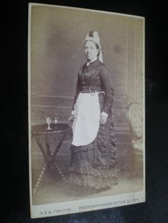 Cdv old photograph house maid servant by A & G TAylor of London c1870s | ebay - devonian35