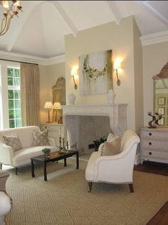 The walls are painted Cream Fleece and the trim and ceiling are White Dove, both by Benjamin Moore.