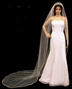 Royal Cathedral Beaded  Pearl Extra Long Wedding Veil --Affordable Elegance Bridal -