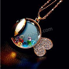 Zinklegierung Pullover Halskette, mit Eisenkette & Kristall & Glas, mit Verlängerungskettchen von 5cm, Fisch, goldfarben plattiert, Seil-Ket...