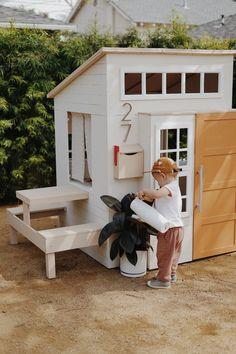 a modern outdoor kids playhouse makeover - almost makes perfect - Spielhaus / Gartenhaus - Backyard Playground, Backyard For Kids, Backyard Games, Cubby Houses, Play Houses, Playhouse Outdoor, Modern Playhouse, Playhouse For Kids, Childs Playhouse