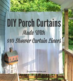 Our porch furniture doesn't get rained on anymore, yay! DIY porch curtains made with $10 shower curtain liner. Blue Cottage, Dagmar's Home,  DagmarBleasdale.com