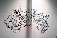 Studio and office mural work for Sumo Digital, a computer games company. Wall Paint Patterns, Painting Patterns, Doodle Wall, Office Mural, Wall Drawing, Mural Wall Art, Painting Wallpaper, Indian Paintings, Wall Art Designs
